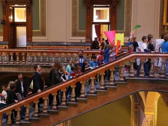 Parents and children rally at the Iowa Capitol in 2015.