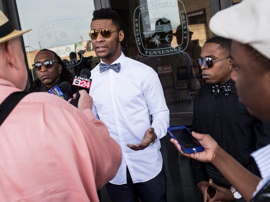 """February 20, 2017 - DeVante Hill speaks with local news media outside of City Hall about the City Hall 'blacklist.' Hill called on Mayor Jim Strickland to explain and repudiate the list and said he would """"absolutely"""" be interested in being a party to a class-action lawsuit against the city. """"This is definitely an attack on activists,"""" said Hill, who works with One Memphis One Vision. """"It's definitely an attack on our right to protest. And it's definitely an attack on our right not to be spied on."""""""
