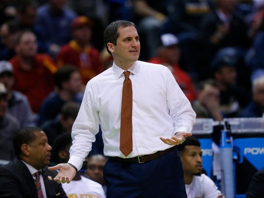Iowa State coach Steve Prohm reacts to a call during the Iowa State men's basketball game against Purdue in the second round of the NCAA tournament on Saturday, March 18, 2017 at the BMO Harris Bradley Center in Milwaukee.