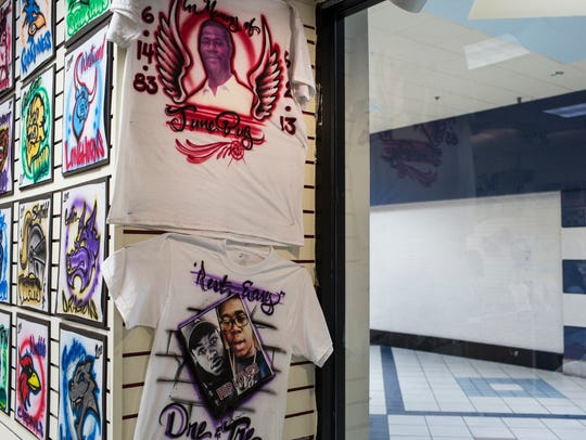 March 27, 2017 - Memorial T-Shirts are seen on display