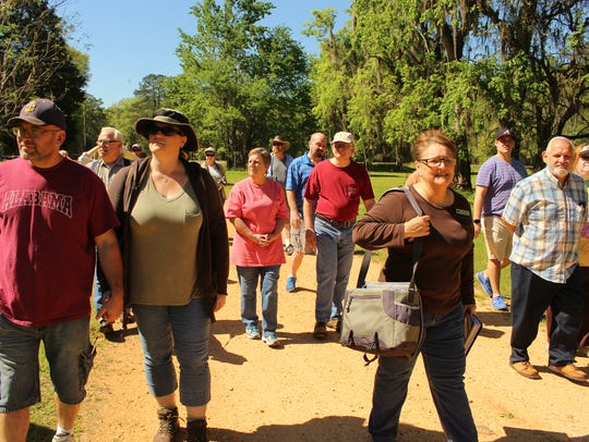 Old Cahawba Director Linda Derry leads a group of history
