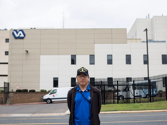 """Sean Higgins, United States Air Force Veteran and Memphis VA Medical Center whistle blower, stands outside of the Memphis VA Medical Center building on Jefferson. """"Im here because I'm a veteran and that could be me in that building,"""" Higgins said."""