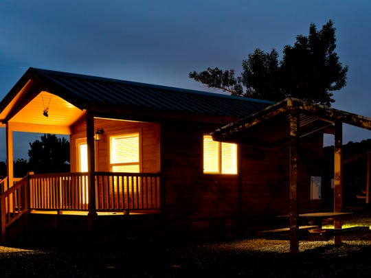 Eight camping cabins offer comfortable accommodations near the shore of Lyman Lake.