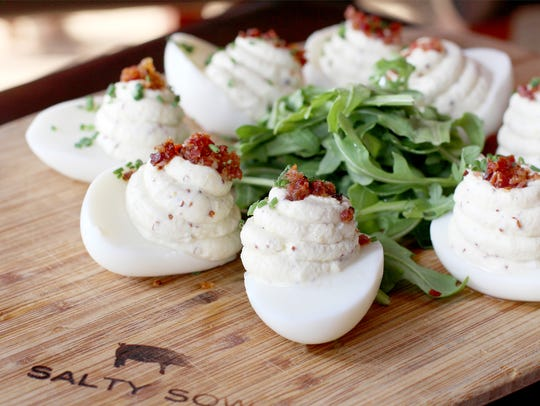 The truffled deviled eggs at Salty Sow