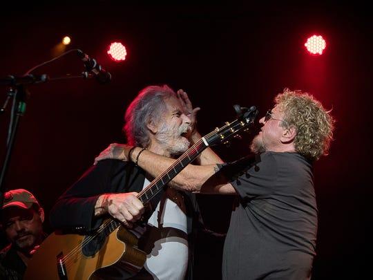 Sammy Hagar (right) brushes back Bob Weir's grey mane