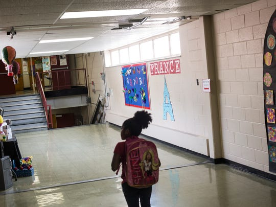 May 18, 2017 - A student makes her way to class at Brownsville Elementary school. City Year, an Americorps program that supports schools in poor areas, is wrapping up its first year in Memphis. The program employs recent college graduates to work in support roles in schools, focusing on issues like attendance and behavior. The first year was a pilot to see if Memphis was a good market for the program.