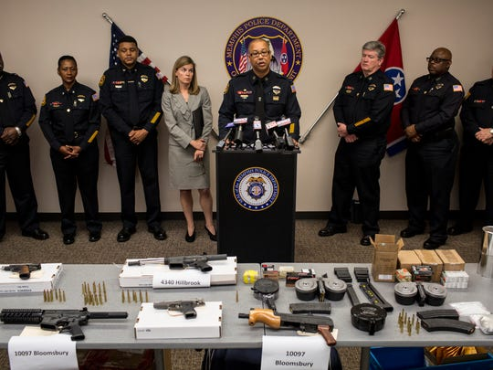 "Memphis Police Director Michael Rallings, flanked by Shelby County District Attorney General Amy Weirich and Memphis Police officials, talks about the ""Wait a Minute Mr. Postman"" operation."