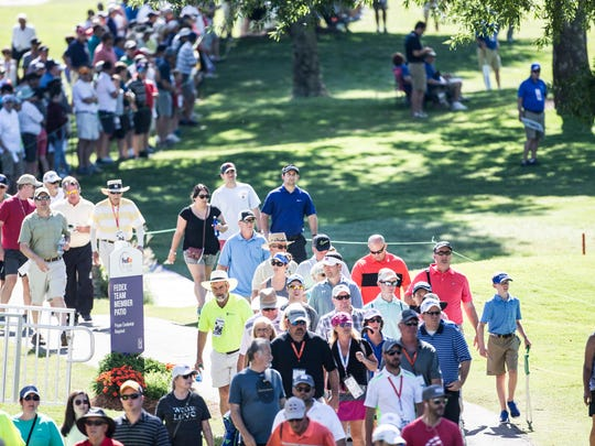 June 9, 2017 - A crowd follows Phil Mickelson on the 17th hole during the second round of play of the 60th annual FedEx St. Jude Classic at TPC Southwind.