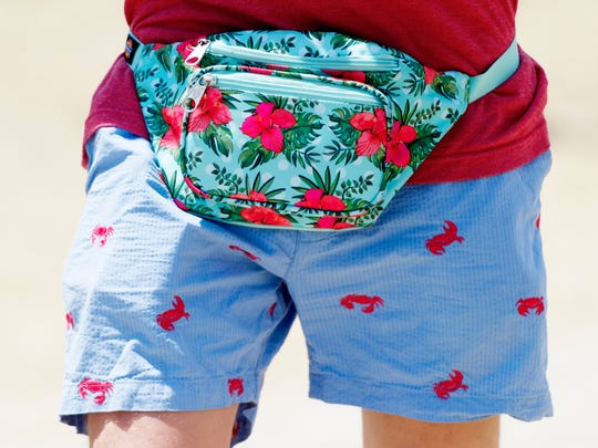 A fest-goer wears a fanny pack at Bonnaroo Music and