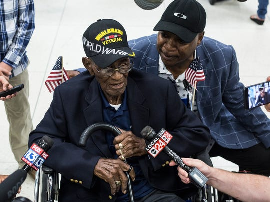 Richard Overton, 111, believed to be America's oldest World War II veteran, talks with the media after arriving at Memphis International Airport on July 13, 2017. Overton is in town to participate in a documentary by a local filmmaker.