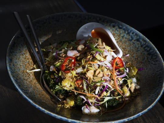 E+O Kitchen's Brussel sprout salad has fried kale,