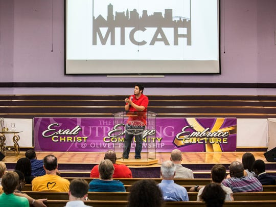August 8, 2017 - Rondell Trevino, founder and director of Memphis Immigration Project, speaks during a meeting for Memphis Interfaith Coalition for Action and Hope at Olivet Fellowship Baptist Church. MICAH is a multi-racial, interdenominational, nonprofit group comprised of local congregations, community organizations, and labor unions.