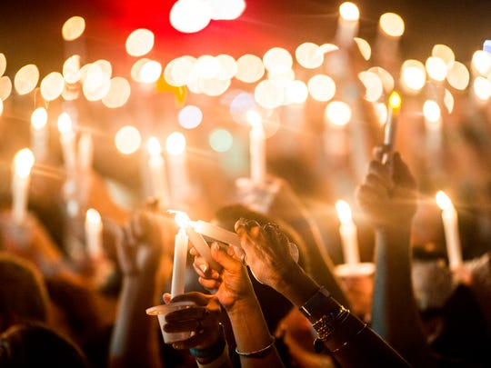 """August 15, 2017 - Elvis Presley fans  came out by the thousands to pay homage at the candlelight vigil during """"Elvis Week"""" that marks the 40th anniversary of Presley's Aug. 16 death."""