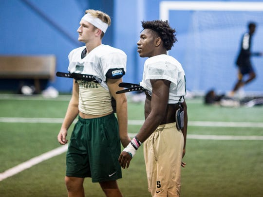 September 14, 2017 - Senior running back Tyler Badie, right, who committed to the University of Memphis over the summer, has run for 12 touchdowns while totaling an even 200 all-purpose yards per game. Briarcrest enters Friday's 7 p.m. home contest against Hernando (11th in the Dandy Dozen) averaging a Shelby County-best 454.3 yards.