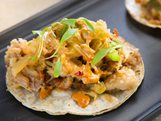 The pork belly and kimchi taco at Crujiente Tacos in Phoenix.
