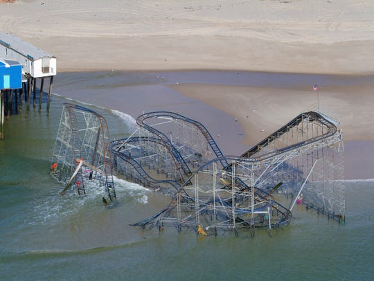 Ocean County - Rollercoaster still sits in the water