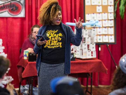 December 09, 2017 - Erica Perry, an attorney and Black Lives Matter organizer in Memphis, begins a BLM membership meeting at Makeda's Homemade Butter Cookies. BLM uses many of the tools and theÊlessons learned from past activists, said Perry.