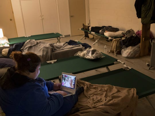 WomenÕs sleeping area at the Ocean County warming center in Toms River, based in the First Assembly Church of God on Bay Ave, during this deep freeze.