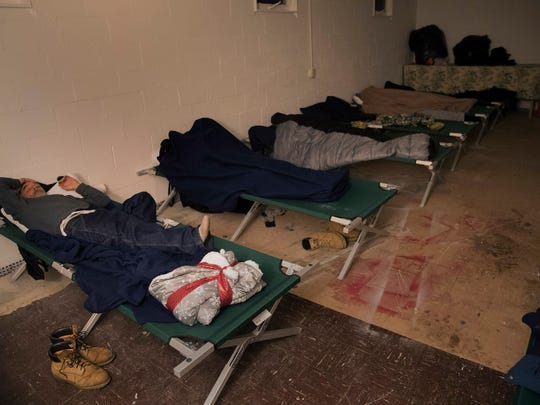 MenÕs sleeping area of the Ocean County warming center in Toms River, based in the First Assembly Church of God on Bay Ave, during this deep freeze.