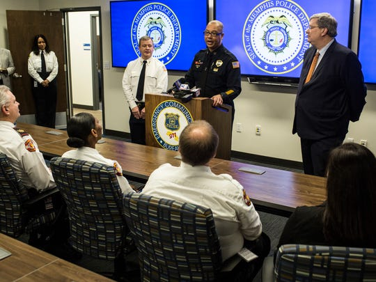 January 11, 2018 - Memphis Police Director Michael Rallings speaks during the debut of the new Memphis Police 911 Call Center, a state-of-the-art facility just above the existing fire dispatch offices at 79 Flicker Street.Ê