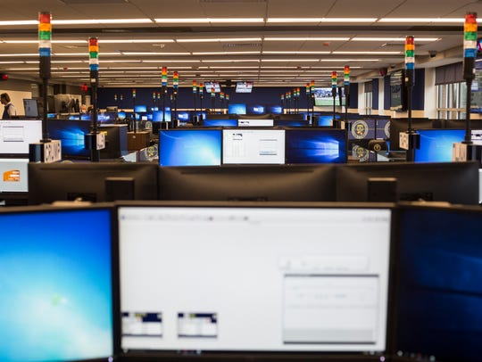 Forty plus dispatch stations are inside of the new Memphis Police 911 Call Center, a state-of-the-art facility just above the existing fire dispatch offices at 79 Flicker Street.
