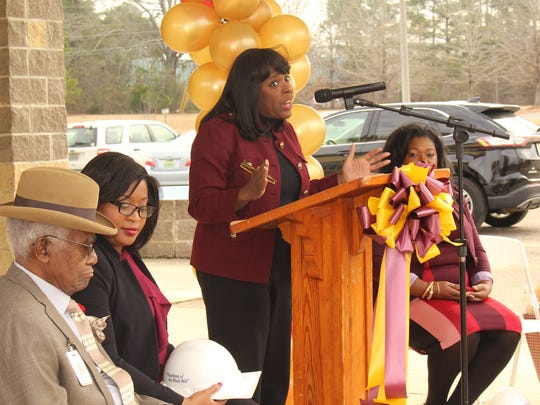 U.S. Rep. Terri Sewell addresses a large crowd at a rural health groundbreaking ceremony in Selma on Friday. Alvin Benn/Special to the Advertiser