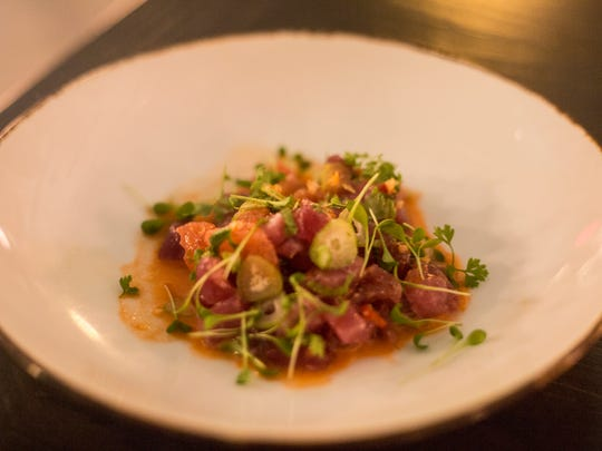 January 27, 2018 - Crudo featuring tuna, grapefruit, carrot vinaigrette, jalape–o and fennel. The Gray Canary is a new restaurant inside of the Old Dominick Distillery building on South Front Street. The Gray Canary is Andy Ticer and Michael Hudman's sixth restaurant.