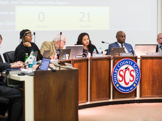 The Shelby County Schools board listens during the