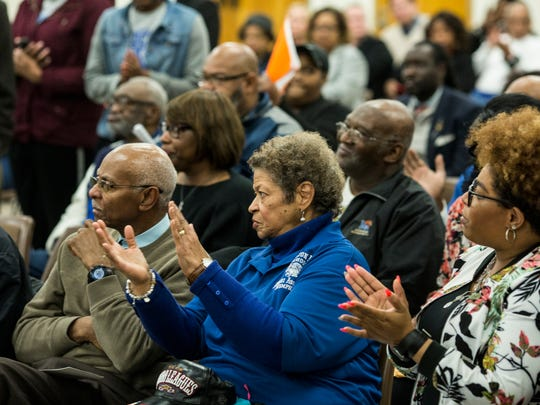 January 30, 2018 - Joyce A. Lindsey applauds during the public comment section of the Shelby County Schools board meeting. Lindsey also spoke in favor of keeping Hamilton High School's principal Monekea Smith.