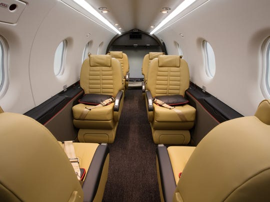 The cabin of the Pilatus PC-12, a popular turbine-powered business aircraft with a maximum range of about 1,900 miles.