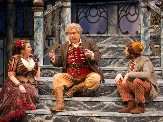 "Toni DiBuono as Maria, Timothy Carter as Sir Toby and Collin Purcell as Fabian. The Alabama Shakespeare Festival presents William Shakespeare's ""Twelfth Night"" comedy April 20-May 5, 2018."