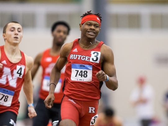 Taj Burgess running for Rutgers at the Big Ten indoor track championships in February.