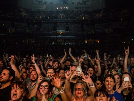 May 03, 2018 -  The crowd watch as Foo Fighters perform