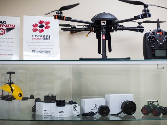 May 25, 2018 - Drones and drone parts are seen on display at 901Drones. The company has done aerial photo shoots of construction site progress, a coming BBC documentary and a planned rails-to-trail project in Delta Heritage State Park in remote southeast Arkansas.