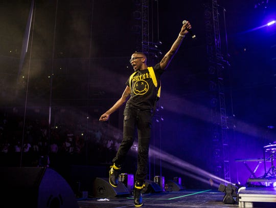 BlocBoy JB performs during Yo Gotti's annual birthday bash at FedExForum on June 28.