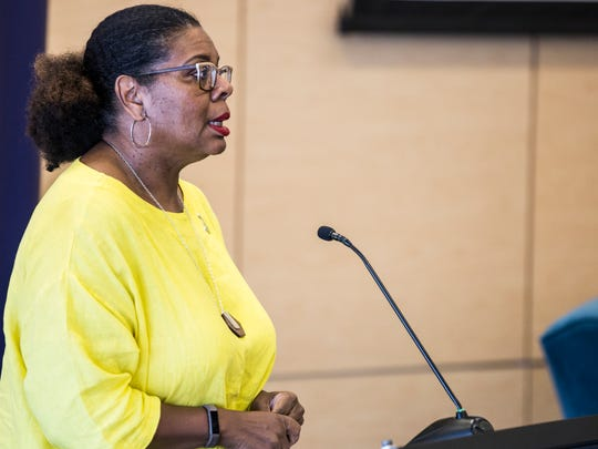 July 17, 2018 - Terri Freeman, president of the National Civil Rights Museum, speaks before the start of the Habitat for Humanity of Greater Memphis Building the Beloved Community: A Conversation about the Fair House Act panel discussion at the National Civil Rights Museum on Tuesday. The event brought together a panel of housing policy and community development experts to discuss the 50th anniversary of the Fair Housing Act.