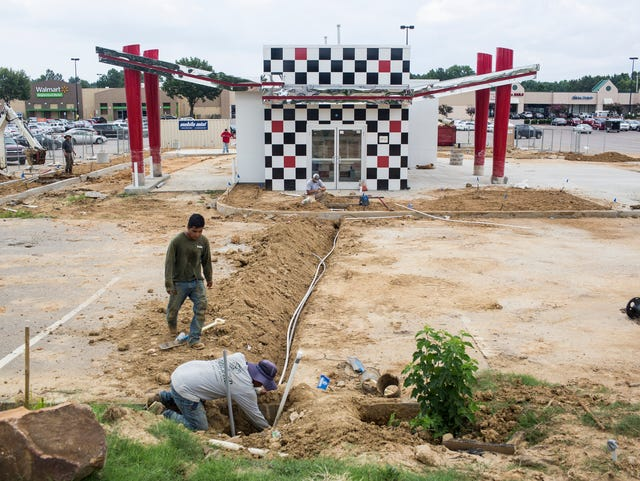 July 23, 2018 - Construction continues on a new Checkers located at 6990 Shelby Drive. When it opens on July 31 it will be the 18th fast food diner located along a 1-mile stretch of Shelby Drive.