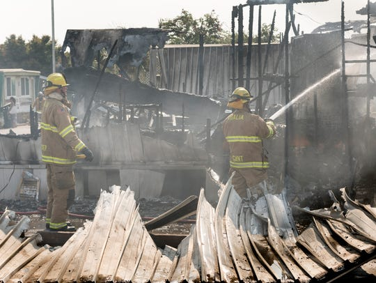Visalia Fire Department responds to a mobile home fire