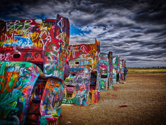 "Dick Beery: ""Extremely unusual and fun: Cadillac Ranch—Amarillo, Texas."" Dick Beery is an electronics engineer whose life and photography are guided by his motto: ""Never grow up and never stop learning!"""