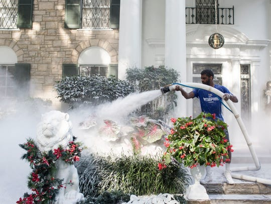 Justin Kelley works to transform the grounds around