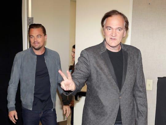 Leonardo DiCaprio, left, and director Quentin Tarantino
