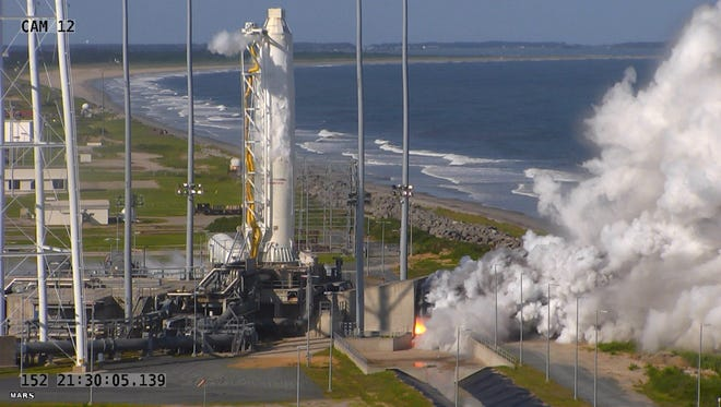 An Antares rocket simulates a blast-off at NASA's Wallops Flight Facility on Tuesday, May 31, in preparation for a return to flight.
