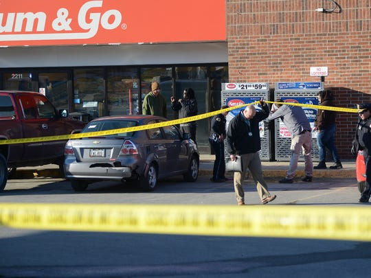 Des Moines police investigate a shooting Thursday afternoon at a gas station at 2211 University Ave.