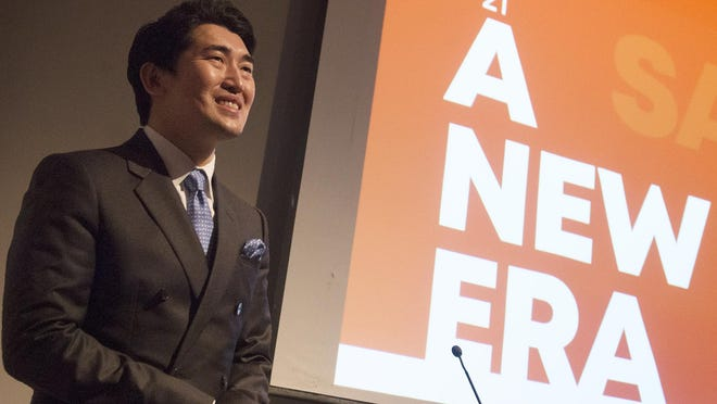 Savannah Philharmonic Music and Artistic Director Keitaro Harada speaks to a crowd of about 150 people at the announcement of the orchestra's 2020/2021 season in Neises' Auditorium at Jepson Center for The Arts on Monday.