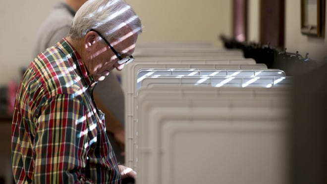 People cast early ballots for the Pooler municipal election at Pooler City Hall on Oct. 28, 2019 during early voting. Chatham County Board of Registrars were unable to secure a location in Pooler to place one of eight new absentee ballot drop boxes ahead of the Nov. 3 election, and chances of the city getting one before them are slim, BOR Chairman Colin McRae said.
