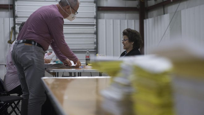 Absentee ballots are processed at the Chatham County Baord of Elections Annex on Election Day, Nov. 3.