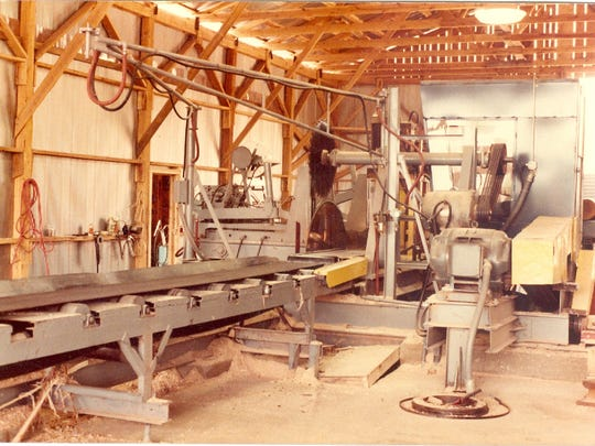 This photo from 1984 shows circular saws used at the