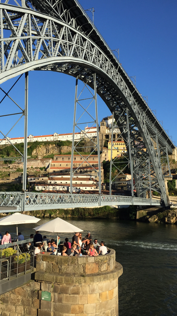 Dining below the Louis I Bridge over the Douro River