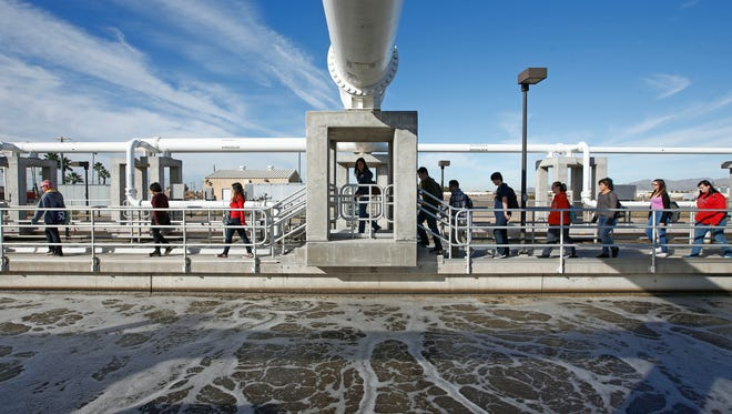 Desert Edge High School students tour the sewage-treatment facility in Goodyear, which is making reclaimed water a key way to meet the city's future needs.  Treatment Facility on Monday, Nov. 17, 2014 in Goodyear, AZ.