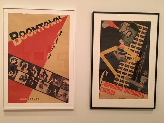 "Constructivist lookalikes -- Boomtown Rats 1980 ""Mondo Bongo"" poster, left, and the 1928 Russian ""Symphony of a City""  at Cranbrook Art Museum."
